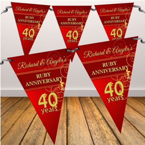 Personalised Ruby 40th Wedding Anniversary Flag Banner - N9